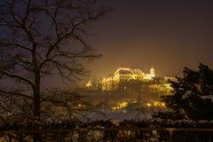 Grodowy Spilberk w Brno podczas nocy obrazy royalty free