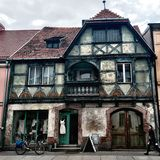 Townhouse, half-timbered structures. Royalty Free Stock Photos
