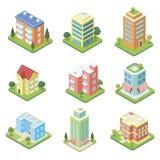 Grodzkich budynków isometric 3D set royalty ilustracja