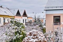 Grodzkich domów zimy okno widok obraz royalty free