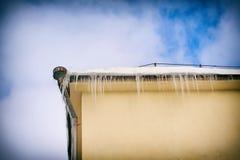 Große Eiszapfen, die vom Dach hängen Stockfotografie