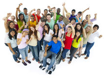Große feiernde Gruppe von Personen Lizenzfreie Stockfotos