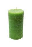 Große grüne brennende Kerze Lizenzfreie Stockfotos