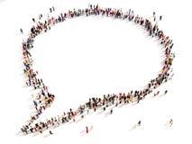 Große Gruppe von Personen in Form einer Chatblase Stockfotos