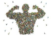 Große Gruppe von Personen gesehen von oben zusammen erfasst Lizenzfreie Stockfotografie