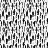 Große Gruppe von Personen Vector nahtloses Muster Lizenzfreie Stockbilder