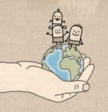 Große hand- schützen sich Stockbild
