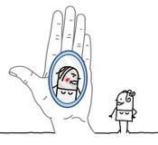 Große Hand und Zeichentrickfilm-Figur - Reflexion im Spiegel Lizenzfreie Stockfotos