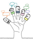 Große Hand und Zeichentrickfilm-Figuren - Soziales Netz Lizenzfreie Stockfotografie
