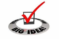 Große Ideen-Kontrolle Mark Box Original Creative Words Stockfoto