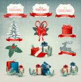Große Sammlung Weihnachtsikonen und Design eleme Stockbilder