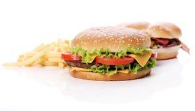 Große und geschmackvolle Burger Lizenzfreie Stockfotografie