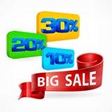 Große Verkaufs-Aufschrift Farbband Stockbild