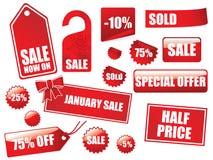 Große Verkaufsmarken- und -aufkleberansammlung Stockfotos