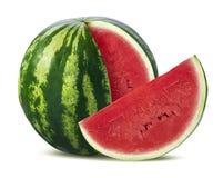 Große Wassermelone und Scheibe auf weißem Hintergrund Stockfoto