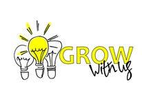Groei met ons Rekrutering, het teambuilding en persoonlijk de groeiconcept Hand getrokken bollen Type en hand het van letters voo royalty-vrije illustratie