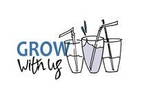 Groei met ons Rekrutering, het teambuilding en persoonlijk de groeiconcept Hand getrokken glazen met het drinken stro stock illustratie