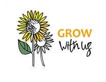 Groei met ons Rekrutering, het teambuilding en persoonlijk de groeiconcept Zonnebloemen en hand het van letters voorzien Ge?solee vector illustratie