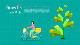 groei uw winst een mens berijdt een fiets voor het houden van percentage van van het bedrijfs boom passieve inkomen marketing inv stock illustratie