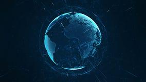 Groeiend globaal netwerk en gegevensverbindingenconcept De abstracte wetenschappelijke omringende aarde van het technologieinform stock illustratie