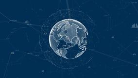 Groeiend globaal netwerk en gegevensverbindingenconcept Wetenschappelijk technologieinformatienet vector illustratie