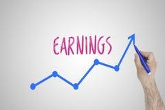 Groeiend inkomensconcept op witte raad De zakenman trekt versnellende lijn van het verbeteren van inkomens tegen whiteboard stock afbeelding