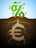 Groeiend percententeken als installatie met bladeren en euro teken als wortel Royalty-vrije Stock Afbeeldingen