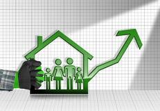 Groeiende Real Estate-Verkoop - Grafiek met Huis Stock Foto's