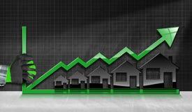 Groeiende Real Estate-Verkoop - Grafiek met Huizen Royalty-vrije Stock Foto's