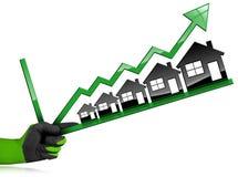Groeiende Real Estate-Verkoop - Grafiek met Huizen Royalty-vrije Stock Afbeelding