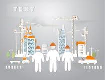 Groeiende stadsillustratie, achtergrond met kranen en gebouwen Royalty-vrije Stock Afbeeldingen