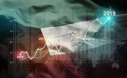 Groeiende Statistiek Financiële 2019 tegen de Vlag van Koeweit royalty-vrije illustratie