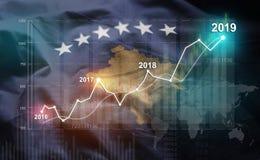 Groeiende Statistiek Financiële 2019 tegen de Vlag van Kosovo royalty-vrije illustratie