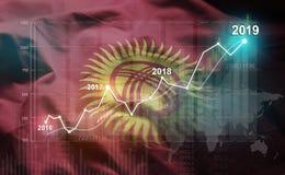 Groeiende Statistiek Financiële 2019 tegen de Vlag van Kyrgyzstan stock illustratie