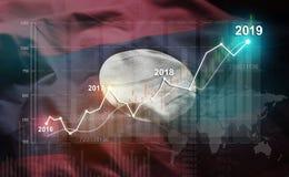 Groeiende Statistiek Financiële 2019 tegen de Vlag van Laos vector illustratie