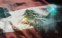 Groeiende Statistiek Financiële 2019 tegen de Vlag van Libanon stock illustratie