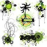 Groen aard-themed motieven Stock Illustratie