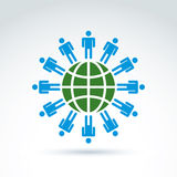 Groen aarde en mensheids symbolisch pictogram, vector conceptuele ongebruikelijk Stock Foto's