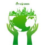 Groen aarde en stadsecoconcept Royalty-vrije Stock Foto's