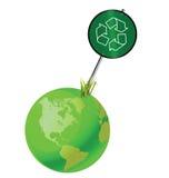 Groen aarde recyclingsteken Royalty-vrije Stock Afbeeldingen