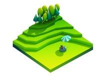 Groen aardeconcept in isometrische mening Stock Afbeelding