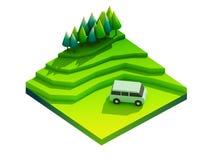 Groen aardeconcept in isometrische mening Stock Foto
