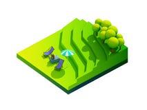 Groen aardeconcept in isometrische mening Royalty-vrije Stock Afbeelding