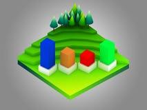 Groen aardeconcept in isometrische mening Stock Afbeeldingen