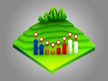 Groen aardeconcept in isometrische mening Royalty-vrije Stock Foto