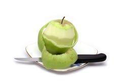 Groen appel en mes Stock Foto