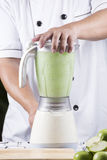 Groen Apple smoothie in mixer Royalty-vrije Stock Fotografie