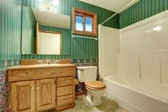 Groen badkamers binnenlands ontwerp in uitstekende stijl stock afbeelding