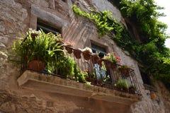 Groen balkon in Girona, Catalonië, Spanje Royalty-vrije Stock Afbeeldingen