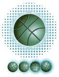 Groen basketbal met haftone vector illustratie